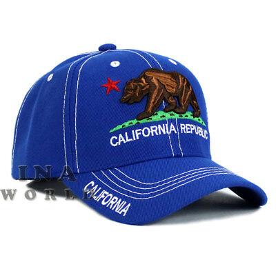 California Republic hat CA Classic Bear Logo Embroidered Baseball cap-Royal Blue