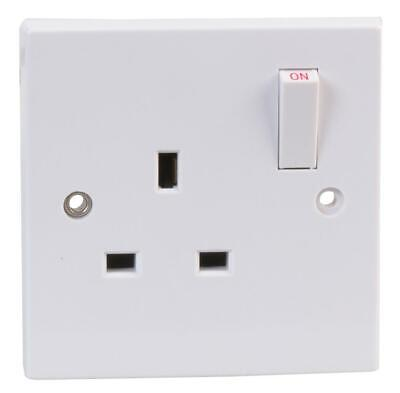 13A Switched Plug Socket Single Gang 1 Gang White Plastic UK Wall Socket 13 Amp - Switched Socket