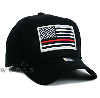USA Flag hat THIN RED LINE SUPPORT FIRE FIGHTER FIRE DEPT. Baseball cap- Black - Firefighter Hat