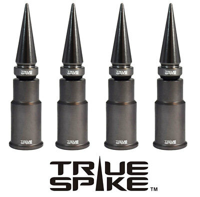 4 TRUE SPIKE GUNMETAL SPIKED TIRE WHEEL AIR VALVE STEM CAP FOR DODGE SUV TRUCK