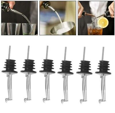 6pcs Tapour Pourer Slow Flow Liquor Spirit Bottle Wine Bar Pour Cocktail Drink