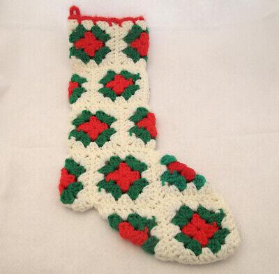 Vintage Crocheted Christmas Stocking Handcrafted Granny Square Retro Kitsch Retro Christmas Stockings
