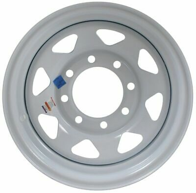 "Trailer Wheel Rim 372 16x6 16""x6"" 8 Bolt Hole 6.5"" on White Spoke Steel w/Stripe"