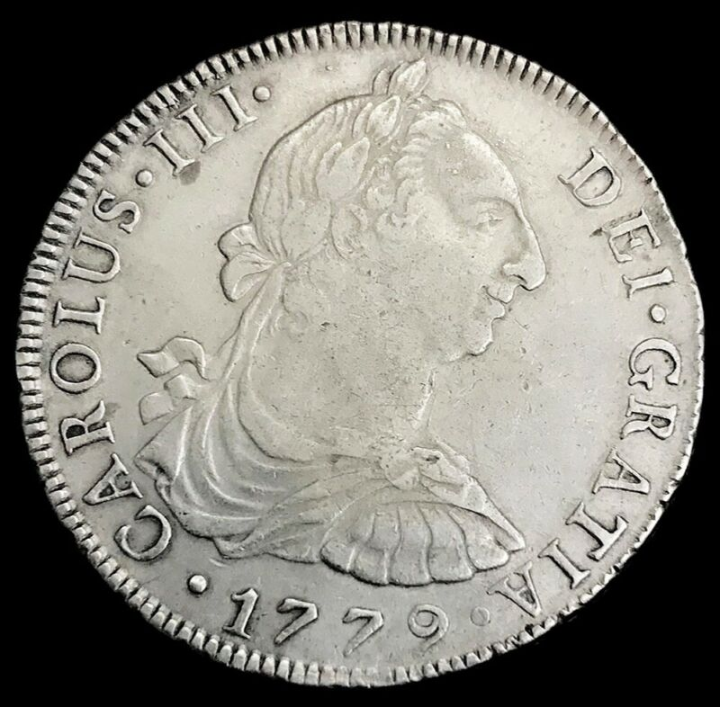 1779 LIMAE MJ SILVER PERU 8 REALES CHARLES III COIN LIMA MINT EXTREMELY FINE