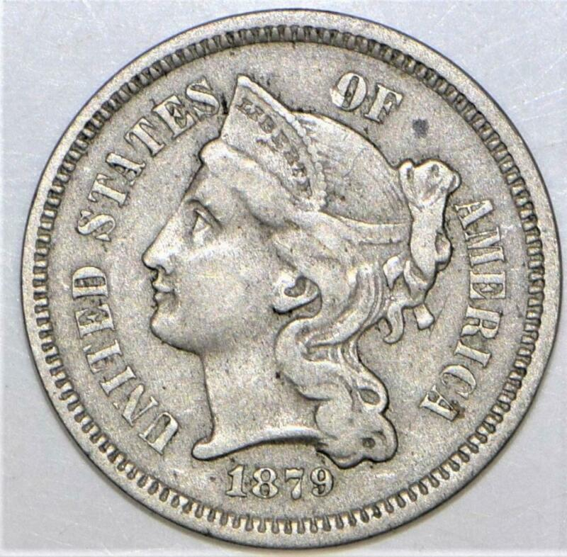 1879 Three Cent Nickel; Nice XF; Mintage 38,000