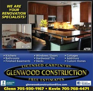 "GLENWOOD CONSTRUCTION   ""Renovation Specialists""  Free Estimates Peterborough Peterborough Area image 2"