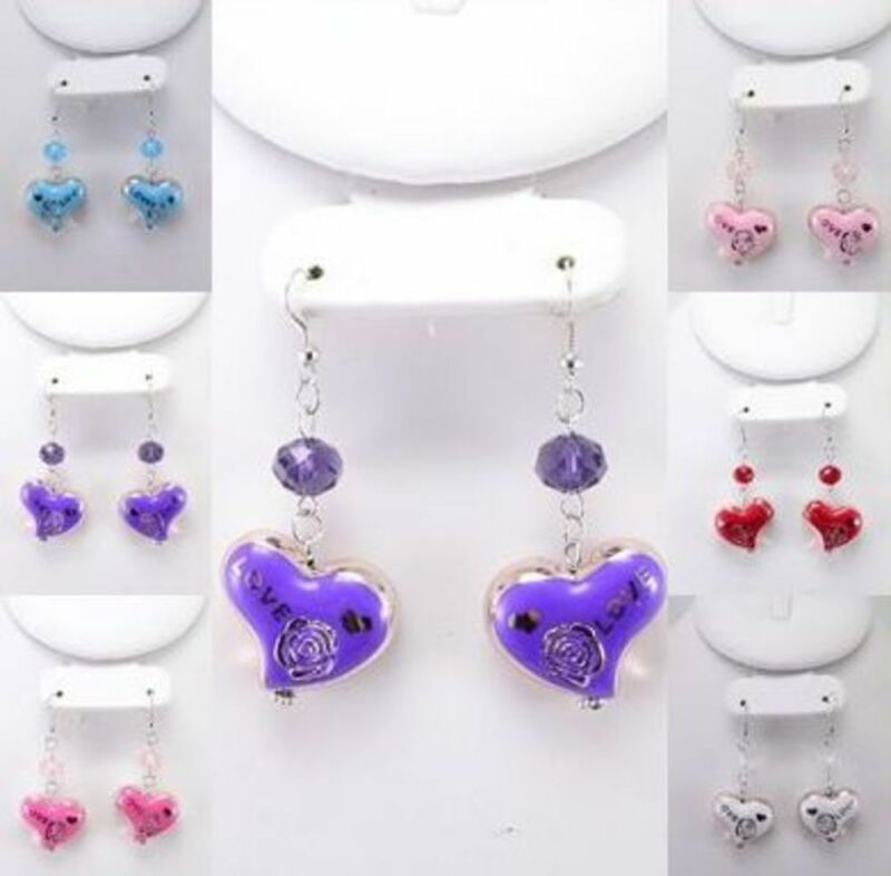 12PR HEART DANGLE WHOLESALE LOT FASHION EARRINGS
