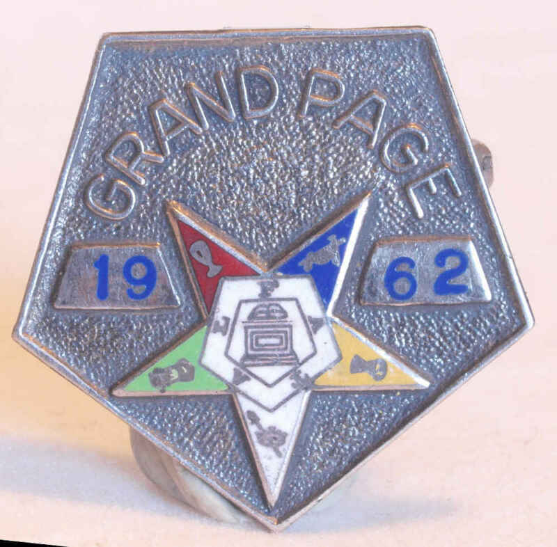 1962 ENAMELED STERLING SILVER ORDER OF THE EASTERN STAR GRAND PAGE PIN MASONIC