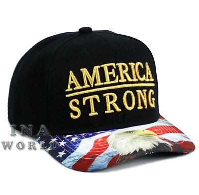 USA American Flag hat AMERICA STRONG Snapback Eagle Flag bill Baseball cap-Black
