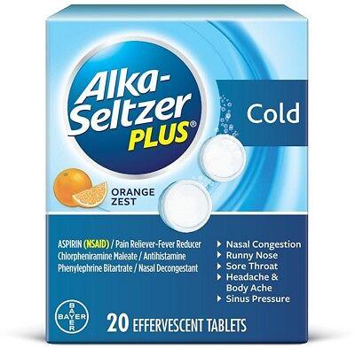 Alka-Seltzer Supplementary Cold Medicine, Effervescent Tablets, Orange Zest 20 ea
