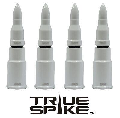 4 TRUESPIKE WHITE BULLET TIRE WHEEL AIR VALVE STEM CAP COVER FOR DODGE SUV TRUCK