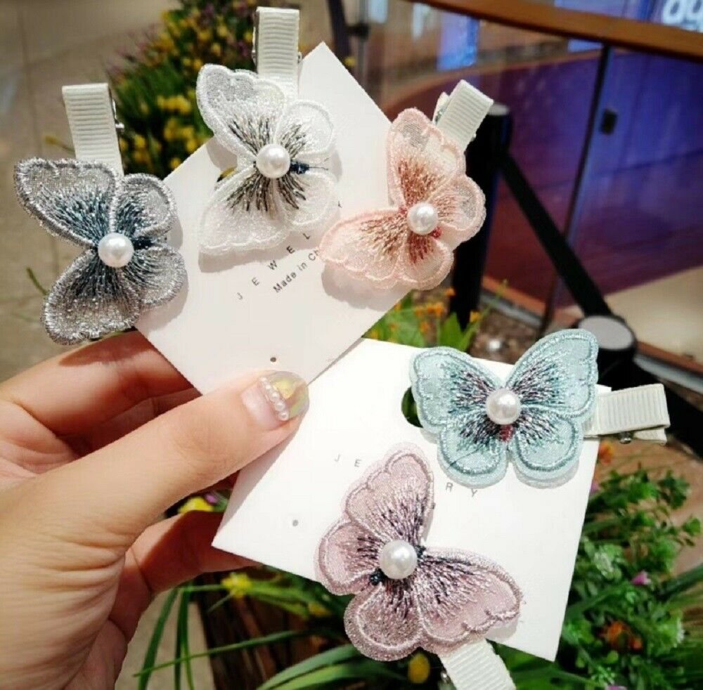 5 Pcs Embroidery Butterfly Hair Clips Barrette Women Girl Hairpin Hair Headwear Clothing, Shoes & Accessories