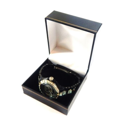 1 Classic Black Leatherette Watch Jewelry Display Packaging Gift Box