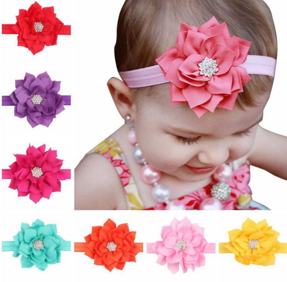 8Pcs Colors Newborn Baby Girl Headband Infant Toddler Bow Hair Band Accessories Baby