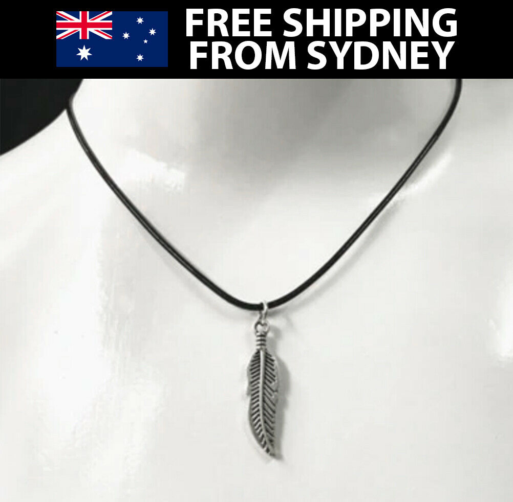 Jewellery - Silver Feather Necklace Black Rope Chain & Pendant Womens Mens Jewellery
