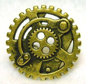 Steampunk-Button-Machine-Mechanism-Antq-Brass-Pierced-FREE-SHIPPING
