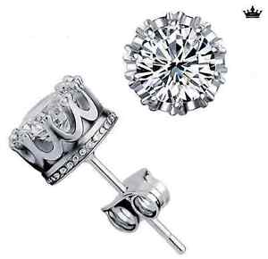 Gorgeous 8mm Round Crown Set! Sterling Silver/Cubic Zirconia Earring Stud