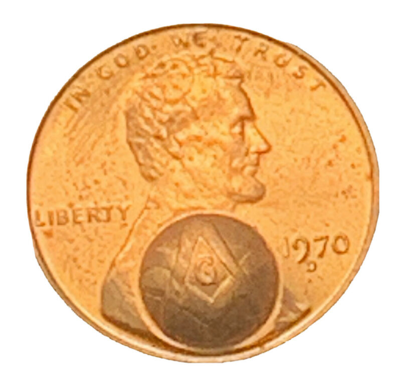 1970-D PENNY COUNTER-STAMPED WITH MASONIC LOGO FREE SHIPPING 6623