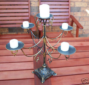 Chandelier 5 Plates Iron Table Candle Holder Centerpiece Cast Iron base 001
