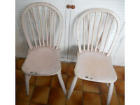 2 Hardwood Stick Back Kitchen or Dining Chairs - Ideal to Paint - £30 the pair