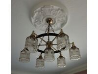 2 vintage 1960s hanging medieval style metal ceiling lights