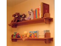 Two Wooden Shelves – Piranha pine. Suitable for a child's bedroom, see photo.