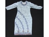 BLUE AND PINK EMBROIDERED AND SEQUINED BEADED SALWAR KAMEEZ DRESS READYMADE EACH INDIAN Asian