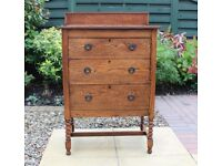 Vintage Solid Oak Chest of 3 Drawers