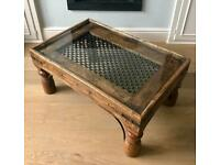 Solid wood coffee table with custom fitted glass top