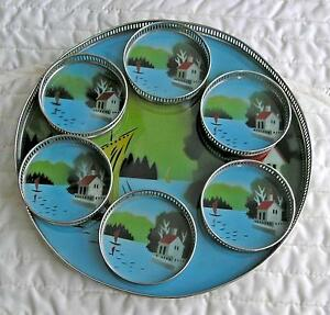 60's Tray and Coaster Set-Vintage