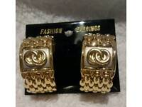 Ladies gold fashion clip on-earrings