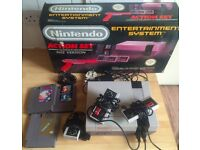 Boxed Nintendo NES Console with 3 Games (Mario, Kirby, Zelda 2) and spare controllers