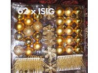 Ikea Gold Christmas Decorations 62 piece box.