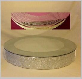 free UK post LARGE WOW FACTOR 50cm Round Wedding Cake Podium Stand Glitter Sparkle Edge Mirror Top