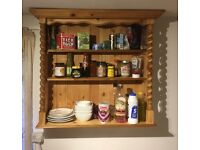Fine quality refurbished antique pine wall shelves with early twist spindles