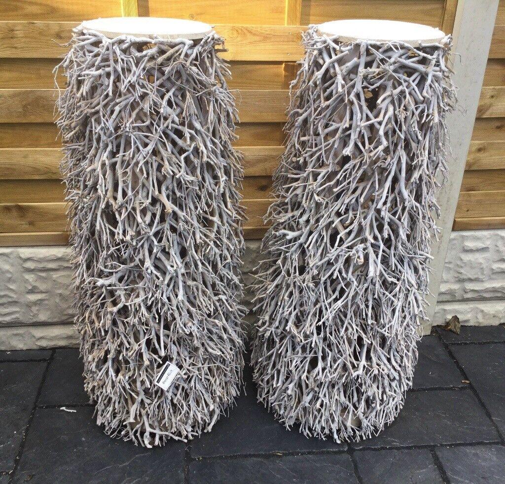 Large Decorative Pair Of Twig Art Pillars