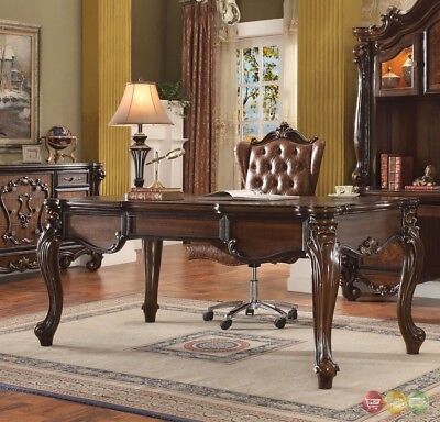 Versailles Traditional Executive 2pc Home Office Set In Cherry Oak -