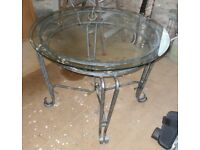 Bevelled Glass Dining Table Top with Steel Base and Two Chairs.