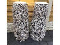 Decorative Pair Of Twig Art Pillars, Boxed.