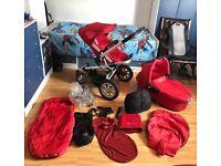Quinny pram + pushchair + rain cover+bag+blanket+winter sleep bag+pump+shopping hanger...