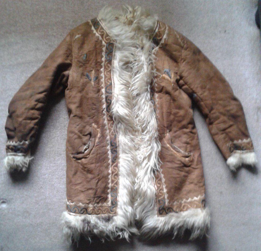 Vintage Afghan Fur Dark Tan Suede Coat Penny Lane Boho