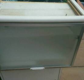 2 large frosted glass cabinets