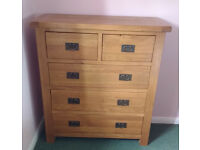Oak Chest of Drawers 2 Over 3