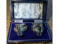 Boxed Matching Pair Hand Made Solid Silver Napkin Rings 1976 & 1977