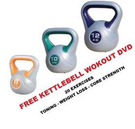 Kettlebell Set 8-10-12kg Fitness Weights Vinyl Kettlebell Set Free DVD