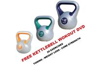 Kettlebell Set 8-10-12kg Fitness Weights Vinyl Kettlebell Set Free DVD