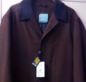 "M&S mens brown winter coat, large 41-43"" chest, new with tags."