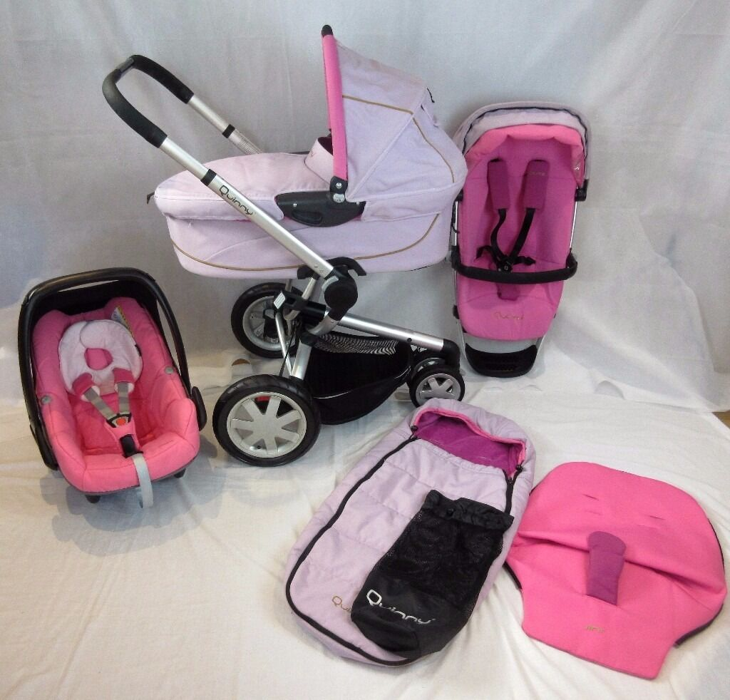 Quinny Buzz Pram Pushchair Full Travel System Roller Pink Inc Carrycot Maxi Cosi Pebble Car Seat