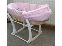 Like new Moses basket & rocker stand