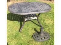 Metal Garden Table & Parasol Base